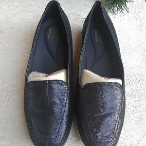 Clarks Hadyn Gloss Black Snake Leather Loafers 8M